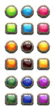 Colorful round and square cartoon buttons set. Stock Images