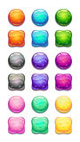 Colorful round and square cartoon buttons set. Stock Image