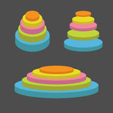 Colorful round stage podium set. Empty pedistal for display. 3d realistic platform for design. . Black background. Templat Stock Photos