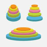 Colorful round stage podium set. Empty pedistal for display. 3d realistic platform for design. . White background. Templat Royalty Free Stock Photos