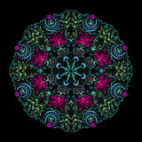 Colorful Round Tantric Mandala At Black Stock Photo