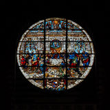 Colorful round vitrage in village church Stock Image