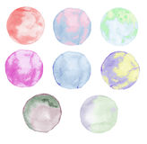 Colorful round watercolor stains set Royalty Free Stock Photo