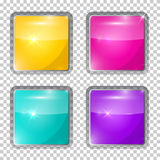 Colorful Rounded Squares Glass Buttons Stock Image