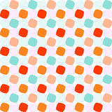 Colorful Rounded Squares Pattern. Abstract geometric pattern with orange, blue, and pink shaded rounded squares on white background. Seamless repeat Stock Photos