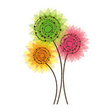 Colorful rounds flowers icon Stock Image