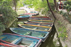 Colorful row boats Royalty Free Stock Images