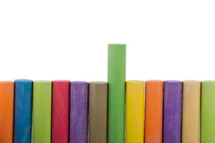 Colorful row of chalk sticks Royalty Free Stock Images