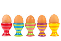 Colorful row with eggs in cups Royalty Free Stock Photo