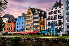 Colorful row of homes in beautiful Cologne Kohn. Germany stock image