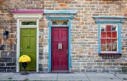 Colorful Row Homes. JIM THORPE, PENNSYLVANIA, - SEPTEMBER 28: Colorful historic stone row homes exteriors on September 28 2016 in Jim Thorpe Pennsylvania Stock Photos