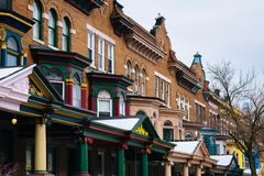 Colorful row houses along Calvert Street in Charles Village, Baltimore, Maryland stock photography