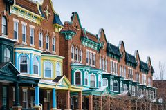 Colorful row houses along Calvert Street in Charles Village, Baltimore, Maryland royalty free stock photos