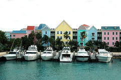 Colorful row of houses and boats royalty free stock image