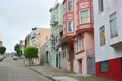 Colorful row of houses in San Francisco Stock Photography