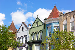 Colorful row houses in Washington DC, USA Stock Photos