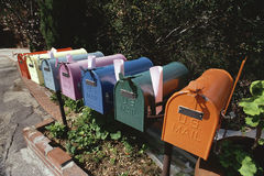 Colorful row of mailboxes Royalty Free Stock Image
