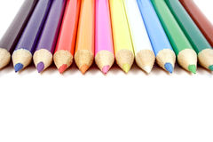 Colorful Row Of Pencils Stock Photo