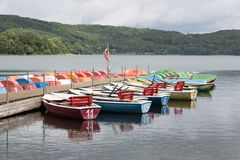 Colorful rowboats for rental Stock Photography