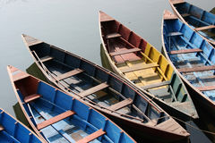 Colorful rowing boats Royalty Free Stock Photo