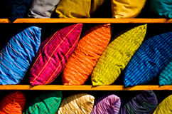 Colorful Rows of Textured Cloth Pillows Royalty Free Stock Photography