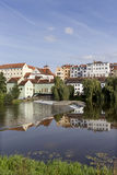 Colorful royal medieval Town Pisek above the river Otava, Czech Republic royalty free stock image
