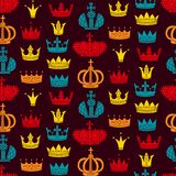 Royal crowns flat seamless vector pattern. Colorful royal retro crowns silhouettes cute seamless vector pattern monarchy Stock Photo