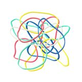 Colorful rubber bands on white background. Colorful rubber bands isolated on white background stock illustration