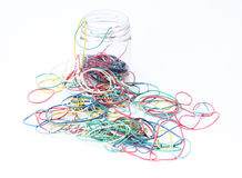 Colorful rubber bands out of the box. Colorful rubber bands on white background stock image