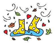 Colorful rubber boots doodle drawing autumn concept stock images
