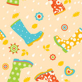 Colorful rubber boots seamless pattern Stock Photo