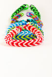 Colorful rubber bracelet. Bracelets made of rubber are fashionable colors Royalty Free Stock Photo