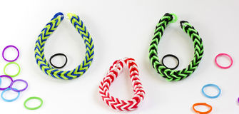 Colorful rubber bracelet. Bracelets made of rubber are fashionable colors Royalty Free Stock Image