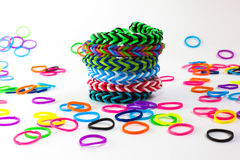 Colorful rubber bracelet. Bracelets made of rubber are fashionable colors royalty free stock photography
