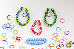 Colorful rubber bracelet. Bracelets made of rubber are fashionable colors Stock Image