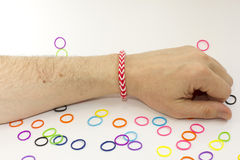 Colorful rubber bracelet. Bracelets made of rubber are fashionable colors Stock Photography