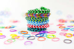 Colorful rubber bracelet. Bracelets made of rubber are fashionable colors royalty free stock photos