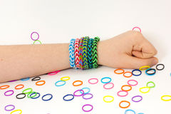 Colorful rubber bracelet. Bracelets made of rubber are fashionable colors Stock Photo