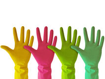 Colorful rubber gloves Stock Image