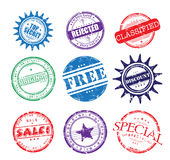 Colorful rubber office stamps. Colorful illustration with various grunge rubber office stamps vector illustration
