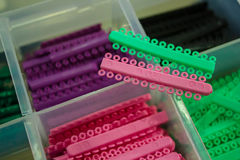 Colorful of rubber, orthodontic braces on teeth Royalty Free Stock Photography