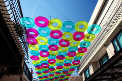 Colorful rubber rings decorated outside shopping mall Stock Photo