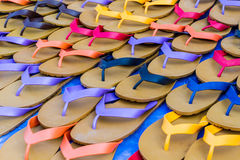 Colorful of rubber slippers. Royalty Free Stock Photography