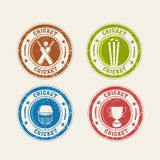 Colorful rubber stamps for Cricket. Colorful Cricket rubber stamps with bat, ball, wicket stumps, helmet and winning trophy Royalty Free Stock Photo