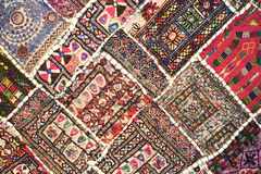 Colorful rug. Artistic handmade piece of colorful rug Stock Images