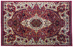 Colorful rug with oriental ornaments isolated on white backgroun Royalty Free Stock Image