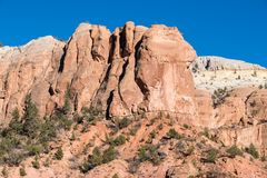 Colorful rugged cliffs and rock formations in the Rio Chama Canyon in New Mexico. Colorful desert landscape of high cliffs and rock formations in the Rio Chama stock images