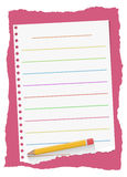 Colorful ruled, ripped white notebook paper sheet are on red background with yellow wooden pencil Stock Photos