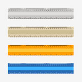 Colorful rulers, millimeters, centimeters and inches,. Colorful rulers, millimeters, centimeters and inches. Ruler flat icon  illustration Stock Photos