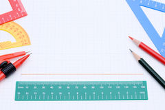 Colorful rulers, pen and notebook Stock Photo